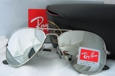 48e0203802b6d Óculos De Sol Ray Ban Aviador Prata Espelhado Lente Cristal - R  123 ...