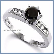 Anillo De Compromiso Diamante Natural Negro Oro 10k -50% 018