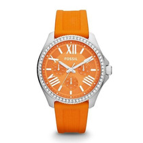 Precioso Reloj Naranja Fossil Am4491 Original Para Dama!!