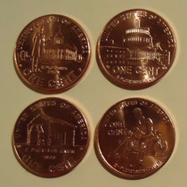 4 Monedas Estados Unidos 1 Centavo Año 2009 Vida Lincoln S/c
