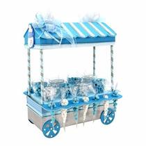 Mesa De Dulces Carrito Baby Shower Azul Biberón Con Dulce