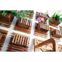 Painel Jardim Vertical Floreira Cachepo Madeira De Demolição