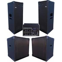 Kit Sonorização Pa 4 Caixas Sub Woofer Mesa Amplificada