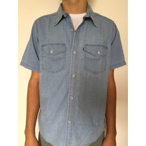 Camisa Casual Jeans Masculina Manga Curta Direto Da Fábrica