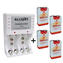Kit Carregador Pilha Aaa Aa 9v + 4 Baterias Recarregável Mox