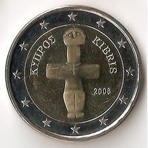 Chipre, 2 Euro, 2008. Bimetalica. Brillante Sin Circular