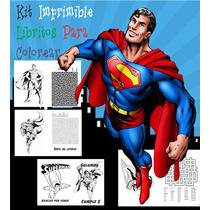 Kit Imprimible Libritos Superman Para Imprimir Y Pintar