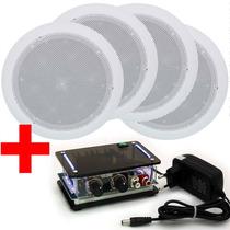 Kit Som Ambiente Amplificador Para Pc + Caixa Acústica Gesso
