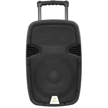 Caixa De Som Portátil 15p Ativa Bateria+usb+sd+02 Microfones