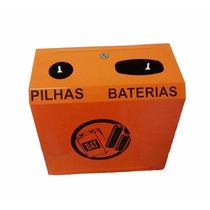 Lixeira De Parede P Descarte Seletivo Pilhas Baterias Em Aço