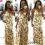 Vestido Longo Feminino Alça Tecido Estampa Lindo Verão