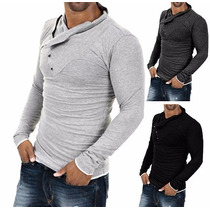 Camisa Casual Slim Moda Top Gola Fashion Manga Comprida