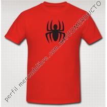 Playera Spiderman Playera Hombre Araña Roja Doble Logo Vnxi