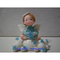 Adorno Para Torta Bautismo Nena / Nene En Porcelana Fría