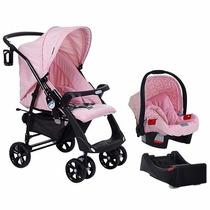Conjunto Carrinho Bebê Conforto Base Banheira E Berço Rosa