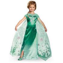 Frozen Fantasia Vestido Infantil Verde Roupa Criança Menina