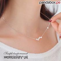 Cadena Collar Estrellas Colgantes, Plata S925 - Moda Koreana