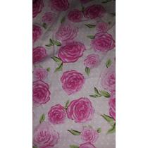 Tela Batista Estampada Rosa Lunares Flores Fuxia Por Metro
