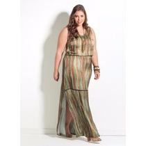 Vestido Longo Plus Size Feminino - Roupa Cetim Festa