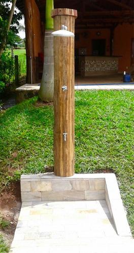 Ducha externa para piscina madeira com encanamento for Duchas de piscina