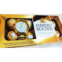 Relógio + Caixa De Bombom, Marca Famosa, Presente Criativo