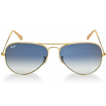 Óculos Ray-ban Aviador Dourado Safira Azul Degradê Original