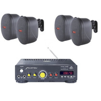 Amplificador Usb Sd Fm Mp3 Mas 4 Bafles Ambientales Bocinas