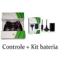 Controle Xbox 360 Wireless Original Microsoft + Kit Bateria