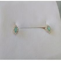 Brinco Chuveiro Com 20 Diamantes E 2 Esmeraldas Ouro 18k