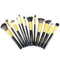 Kit Pincel Maquiagem Profissional Macrilan Gold 12 Pincéis !