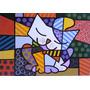 Quadro O Gato - Romero Brito - Pintado À Mão 100x100 Cm