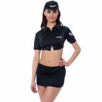 Disfraz Sexy Para Dama De Aeromoza Falda Top Boina Sensual