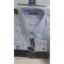 Camisa Masculina 100% Algodão Manga Longa Listras Verticais