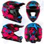 Capacete Motocross Trilha Infantil Ck 01 - Preto Rosa