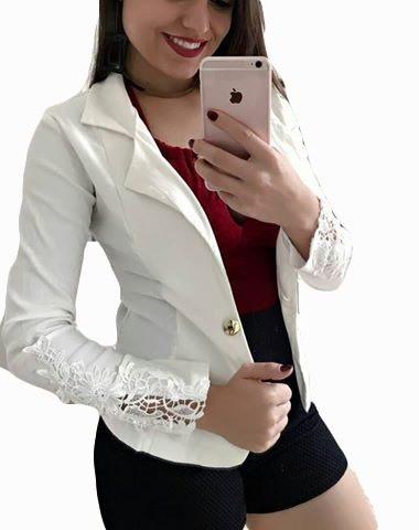 2fe605ce22 Kit 3 Blazers Femininos Com Renda Nas Mangas - R  127