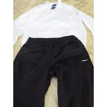 Conjunto Deportivo Reebok Campera Blanca Pantalon Negro