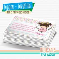 Bautismo Nena - Tarjetita Para Imprimir Con Angelita