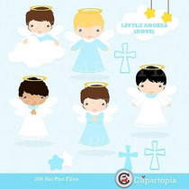 Kit Imprimible Angelitos Bautismo Nene Imagenes Clipart