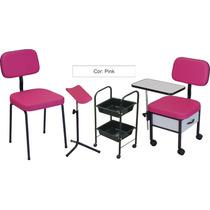 Kit Manicure Cadeira+ Cirandinha+ Carrinho+ Tripe Cor Pink