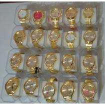 Kit C/10 Relógios Feminino Dourado/prata/bronze+caixas Lote