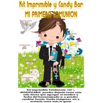 Kit Imprimible Primera Comunión Varón Candy Bar Único!!!
