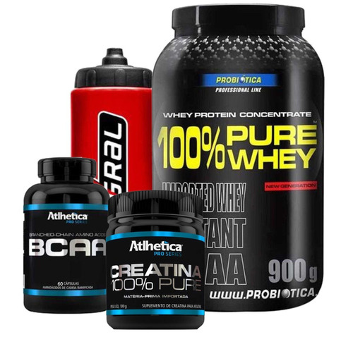 100% Pure Whey 900g + Creatina 100g + Bcaa 60caps + Squeeze - R  109 ... abfb7730009bf
