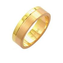 Aliança De Ouro E Ouro Vermelho 18k 750 Largura 6.00mm Altu