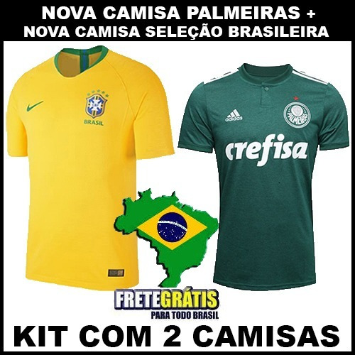 Nova Camisa Palmeiras 2018 + Camisa Brasil Copa 2018 - R  120 167ac33193580
