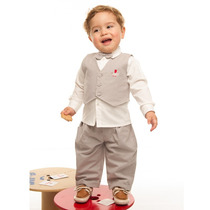 Conjunto Social Bebês - Calça,camisa,colete E Gravata