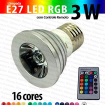 Lâmpada Dicroica E27 Led Rgb 3w Bivolt Controle Remoto