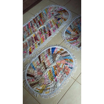 Jogo Tapetes Para Cozinha Feito De Retalhos De Tecido 03 Pça