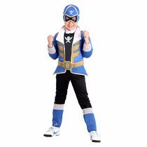 Fantasia Power Ranger Super Megaforce Premium Azul Longo