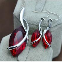 Dije Collar Y Aretes Cristal Swarov Elements Regalo Rojo