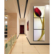 Quadro Pintura Tela Tulipa Vermelha